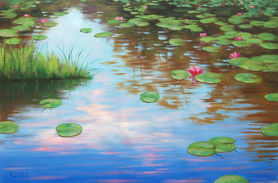 River Painting - Lily Pond by Graham Gercken