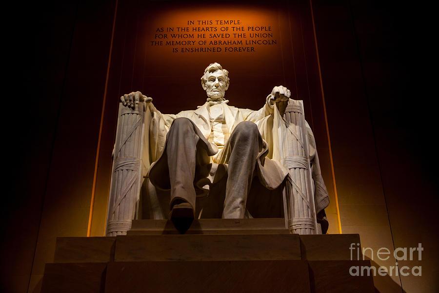 Lincoln Memorial Photograph - Lincoln Memorial at Night - Washington D.C. by Gary Whitton