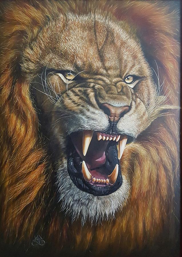 Lion Painting - Lion Roar by Alexandru Burca