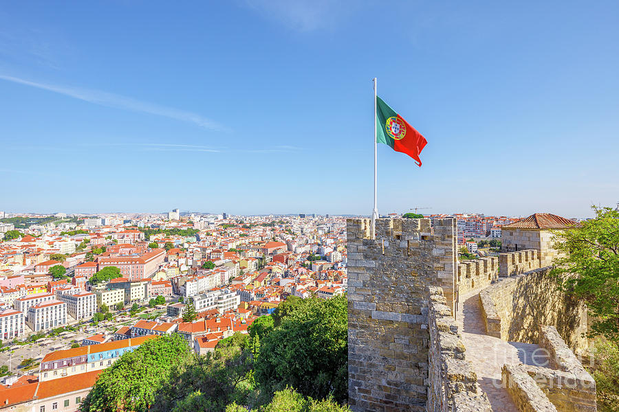 Lisbon Photograph - Lisbon Castle Flag by Benny Marty