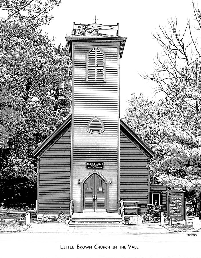 Little Brown Church Drawing - Little Brown Church by Greg Joens