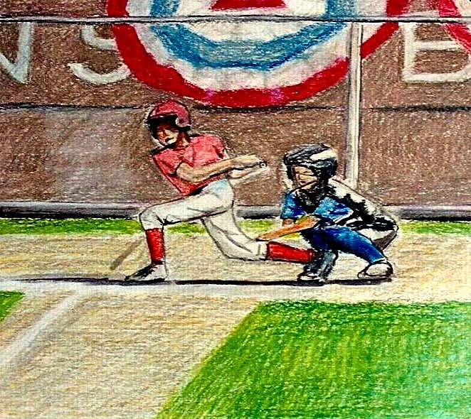 New York Drawing - Little League by Kimberly Simon