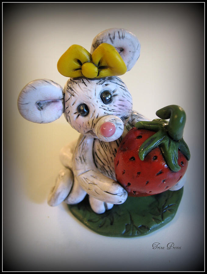 Polymer Clay Sculpture - Little Mouse Big Strawberry by Trina Prenzi