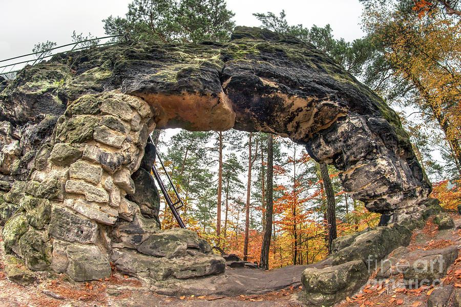 Rock Photograph - Little Pravcice Gate - Famous Natural Sandstone Arch by Michal Boubin