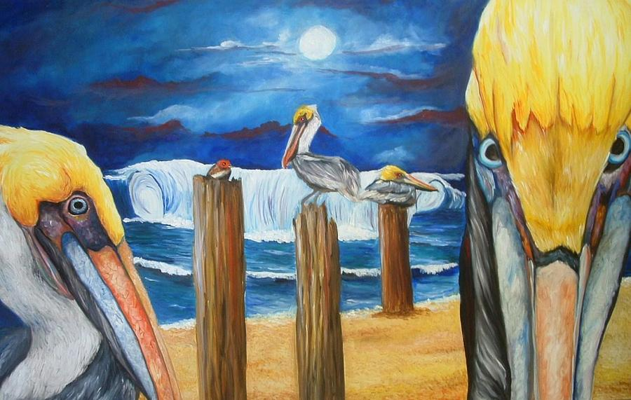 Pelican Painting - Little Red Bird  by Andrea  Darlington