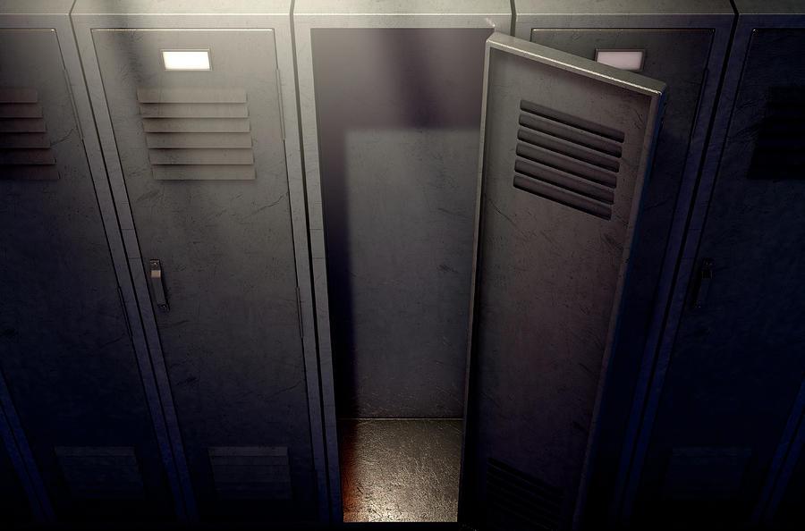 Locker Digital Art - Locker Row And Open Door 1 by Allan Swart