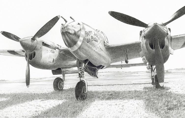 Lockheed P38j Lightning 42-67543 Print by Sidney Chambers
