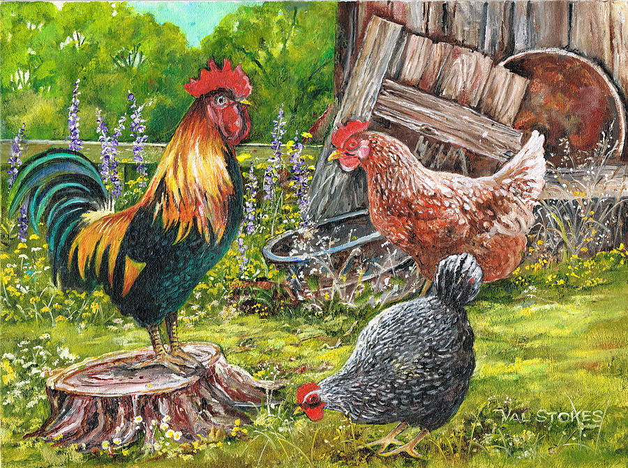 Rooster Painting - Logging On by Val Stokes