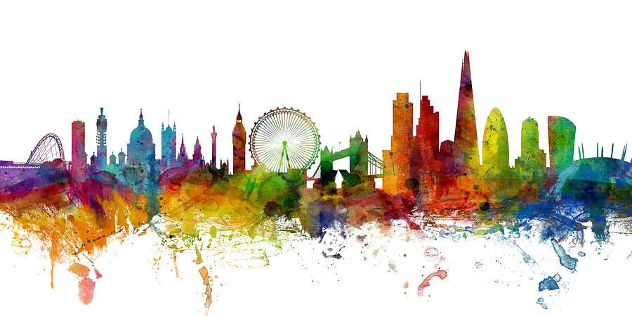 London england skyline panoramic digital art by michael for London cityscape wallpaper