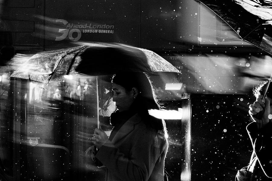 Night Photograph - London Rain IIi by Wayne La