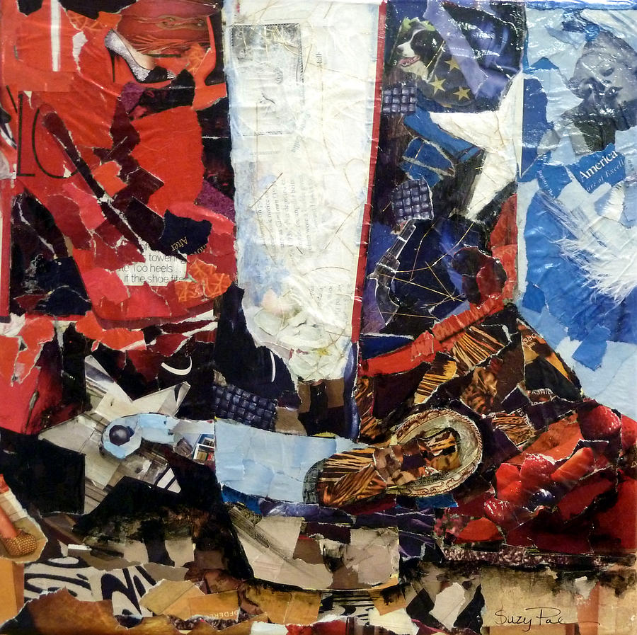 Torn Paper Collage Painting - Lone Star Boot by Suzy Pal Powell