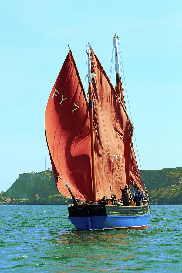 Lugger Photograph - Looe Lugger our Daddy by Tom Wade-West