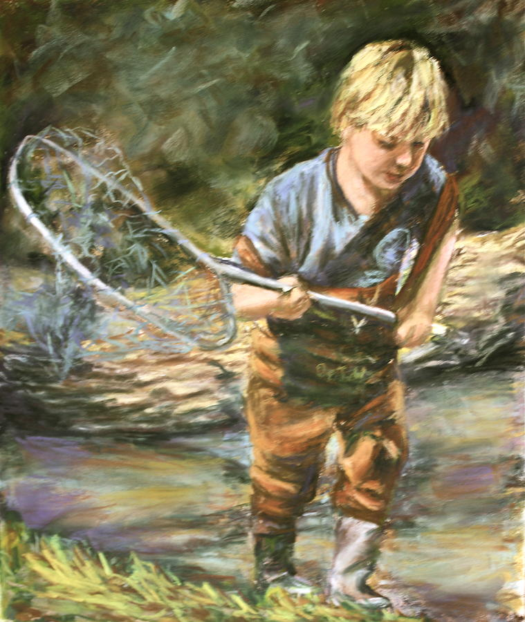 Children Pastel - Looking For Fish by Joan Wulff