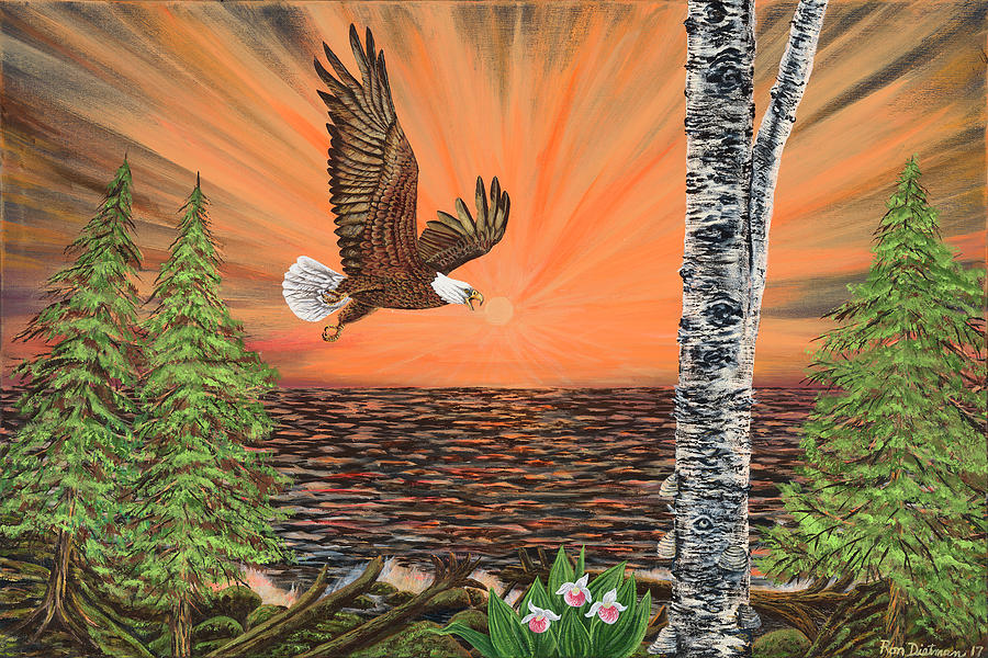 Lake Superior Painting - Loons under the Northern Lights by Ron Dietman