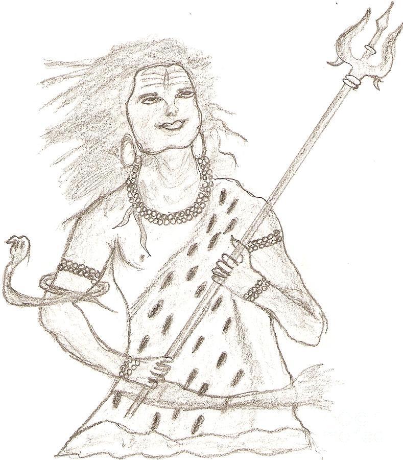 Spiritual Drawing - Lord Shiva by Karthik