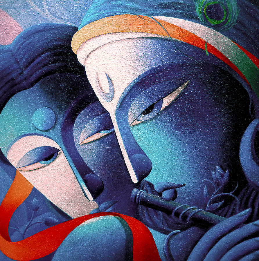 lord sri krishna painting by dhananjay mukherjee