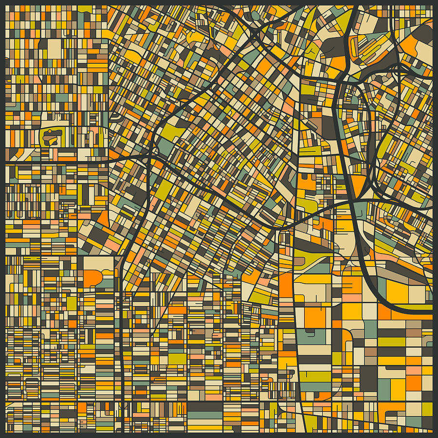 Los Angeles Map Digital Art By Jazzberry Blue - Los angeles map