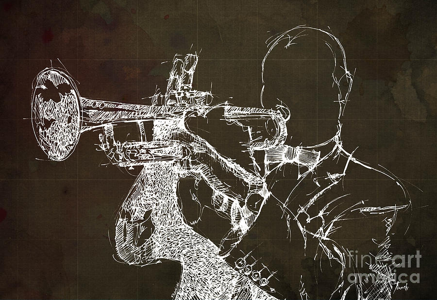 Louis Drawing - Louis Armstrong On Stage 1 by Drawspots Illustrations