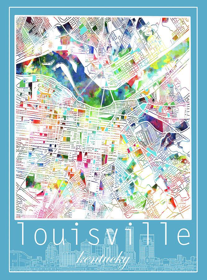 Louisville Kentucky City Map 4 Digital Art