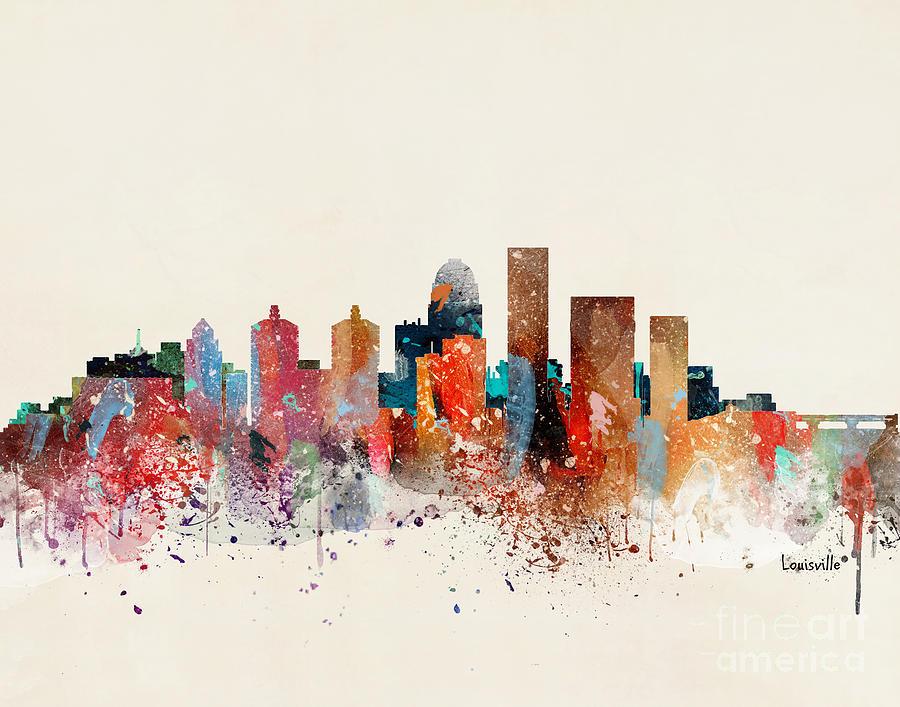 Louisville Kentucky Painting - Louisville Skyline 1 by Bri Buckley
