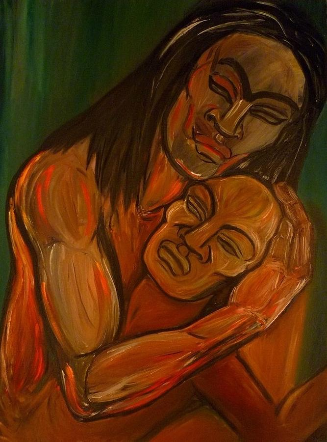 Virgin Painting - Love Embraces The World  by Cindy MILLET