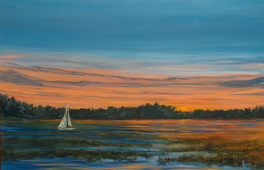 Sailboat Painting - Lowdown by Pete Maier