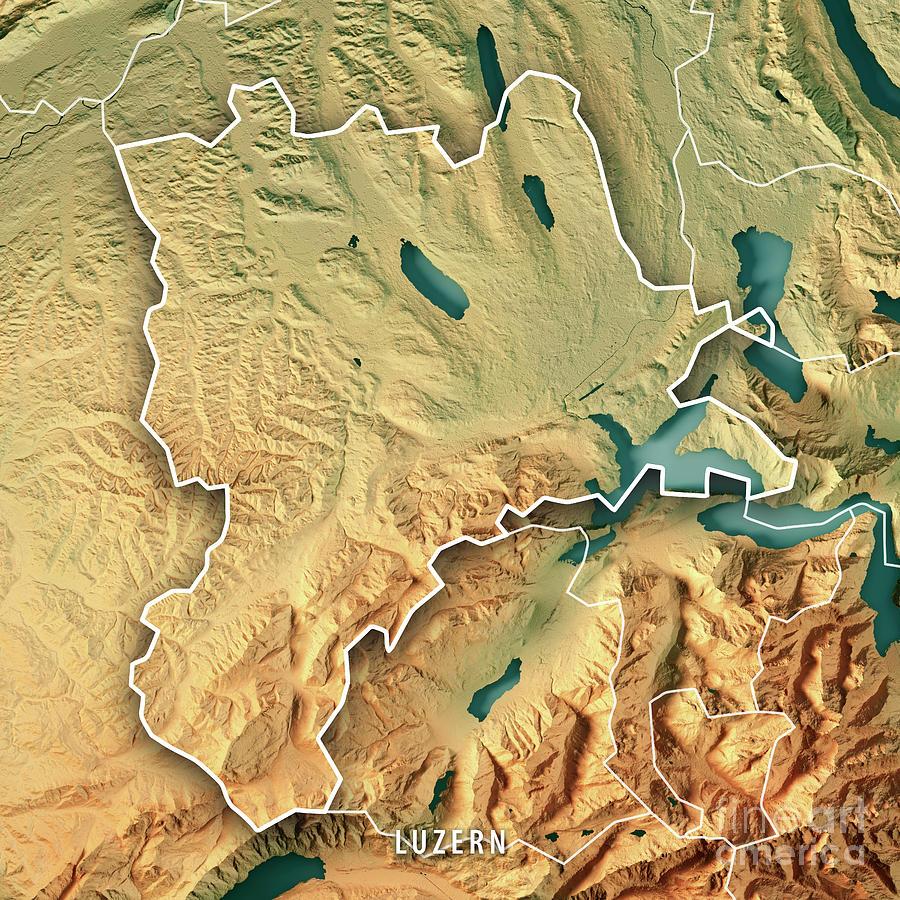 Lucerne Canton Switzerland 3d Render Topographic Map Border