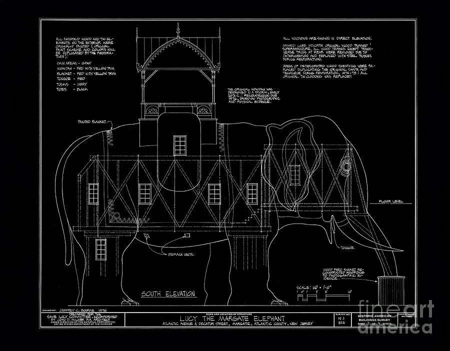 Lucy the elephant building patent blueprint photograph by edward lucy photograph lucy the elephant building patent blueprint by edward fielding malvernweather Image collections