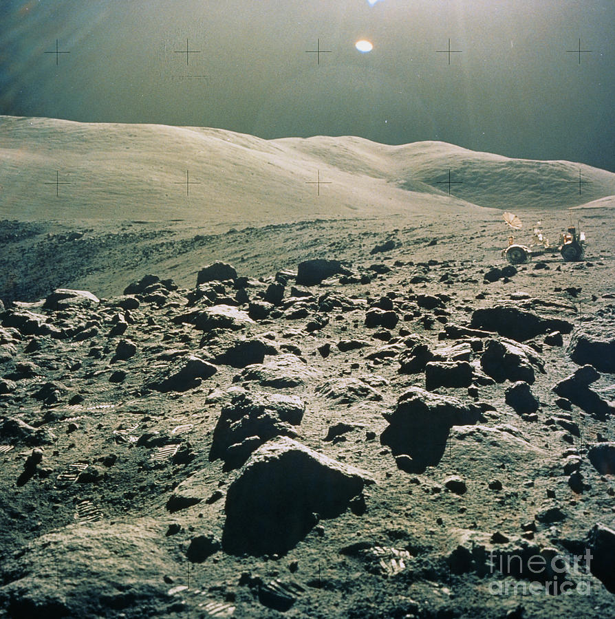 Apollo 17 Photograph - Lunar Rover At Rim Of Camelot Crater by NASA / Science Source