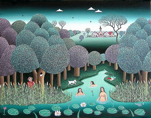 Naive Painting - Lurking by Ferenc Pataki