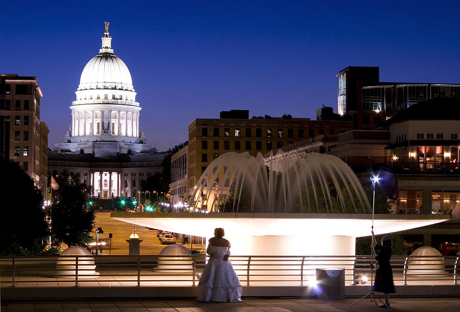 Madison Downtown Capitol at Night from Monona Terrace ...