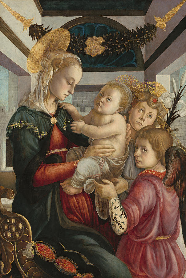 Madonna And Child With Angels Painting