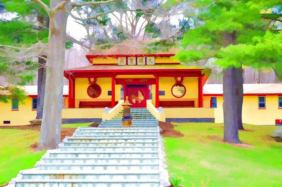 Mahayana Buddhist Temple Painting - Mahayana Buddhist Temple 1 by Jeelan Clark