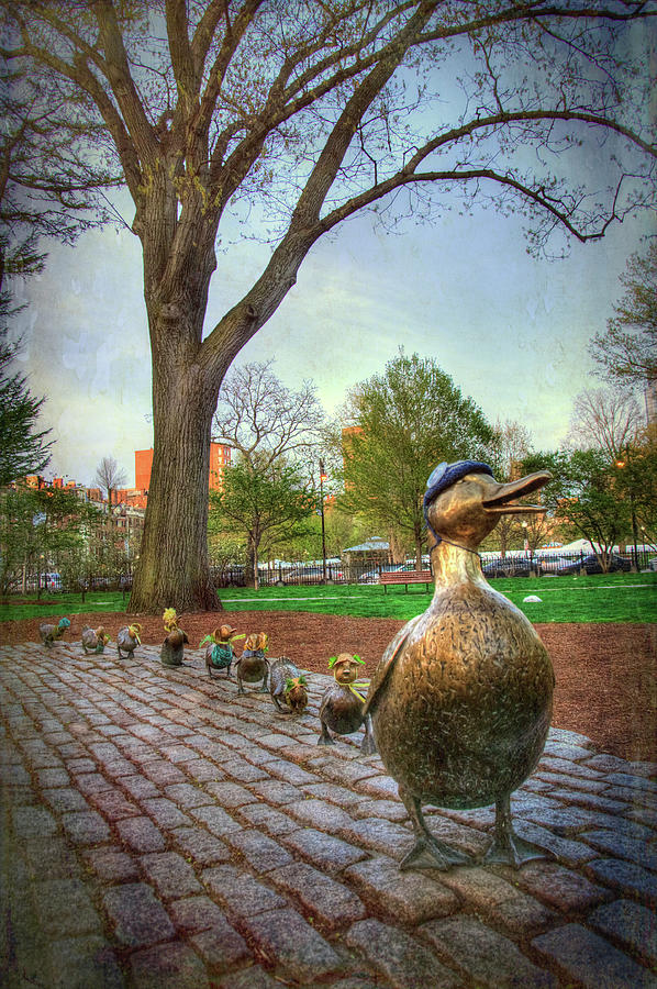 Make Way For Ducklings Photograph - Make Way For Ducklings - Boston by Joann Vitali
