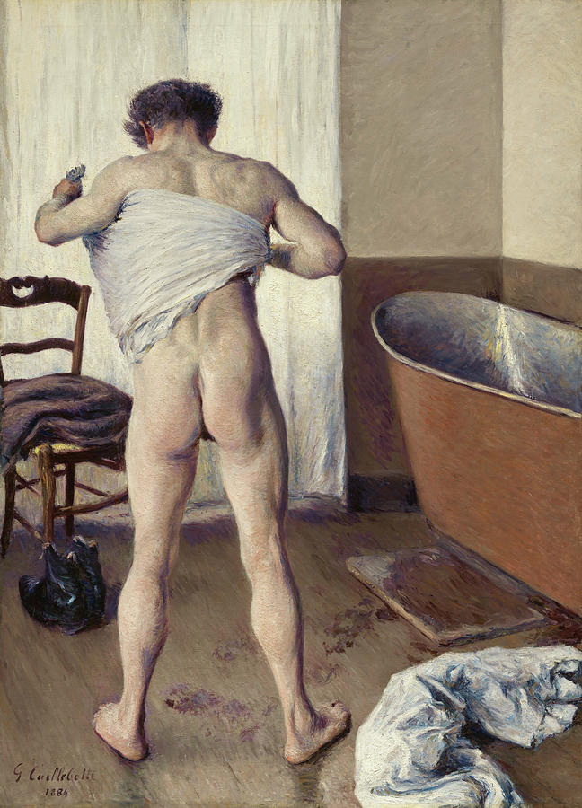 French Painter Painting - Man At His Bath by Gustave Caillebotte