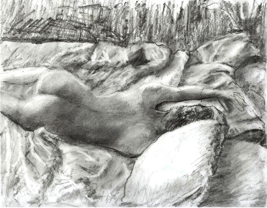 Nude Drawing - Nude Maria In The Sheets by Randy Sprout