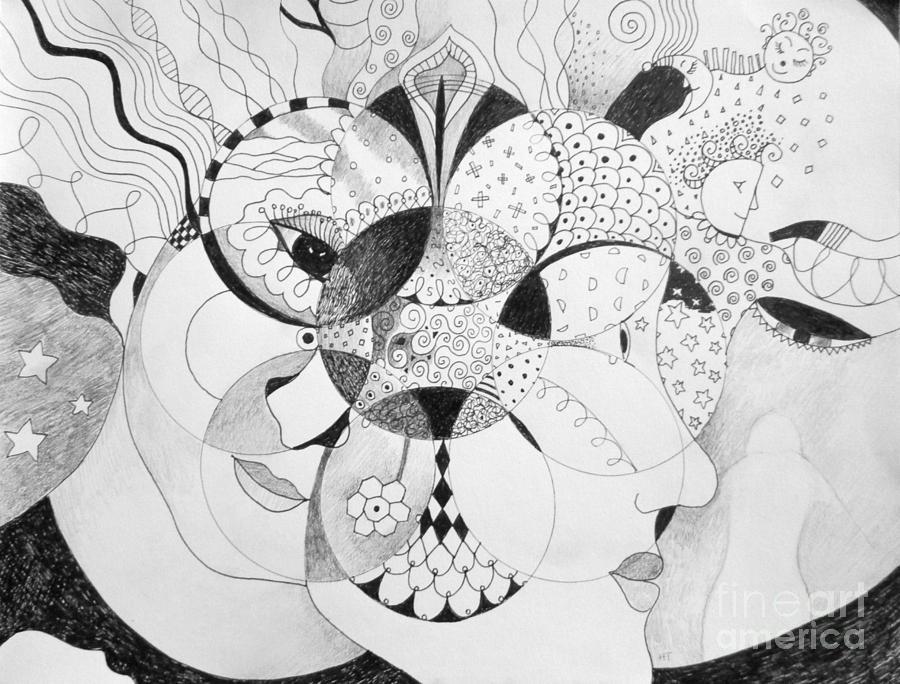 Masquerade Drawing - Masquerade by Helena Tiainen