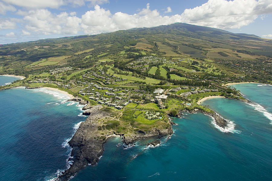 Above Photograph - Maui Aerial Of Kapalua by Ron Dahlquist - Printscapes