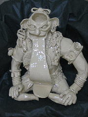 Ceramic Mixed Media - Mayan Insult God by Lehua Ehukai