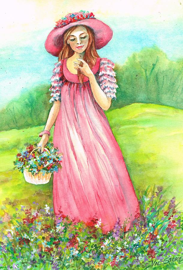 Young Lady Painting - Meadow Maid by Val Stokes