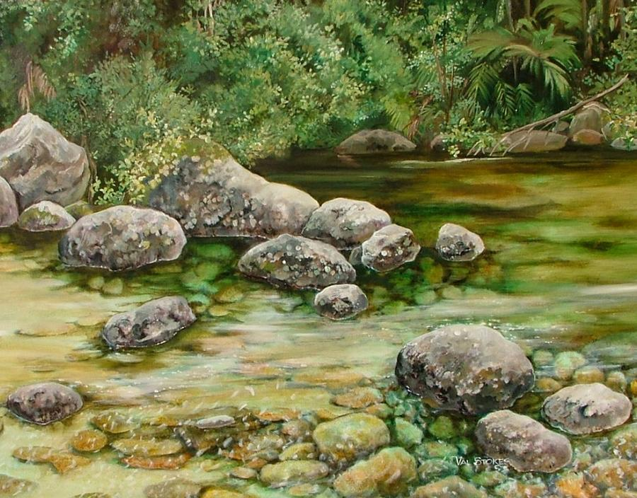 Rocks Painting - Meandering Stream by Val Stokes