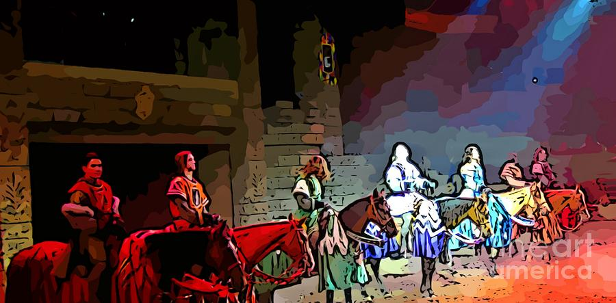 Knights Painting - Medieval Times Dinner Theatre In Las Vegas by John Malone