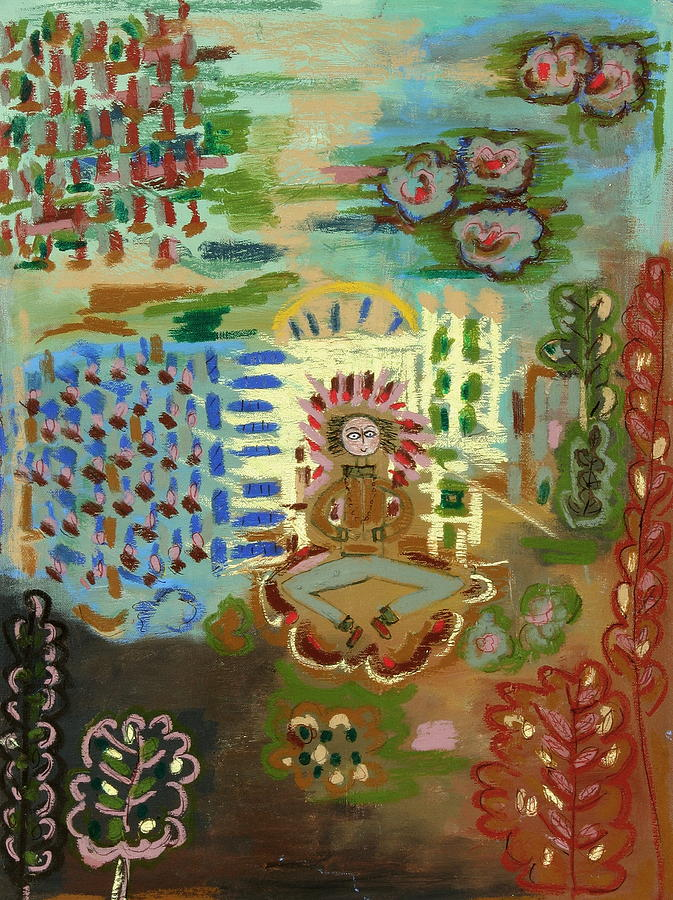 Meditating Master By Garden Trellis Painting by Maggis Art