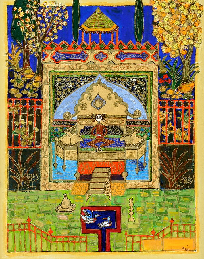 Ducks Painting - Meditating Master In Courtyard With Ducks by Maggis Art