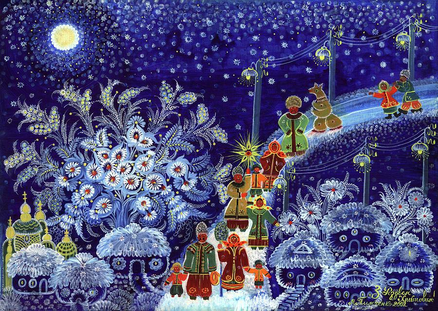 Merry Christmas! Painting - Merry Christmas by Marfa Tymchenko