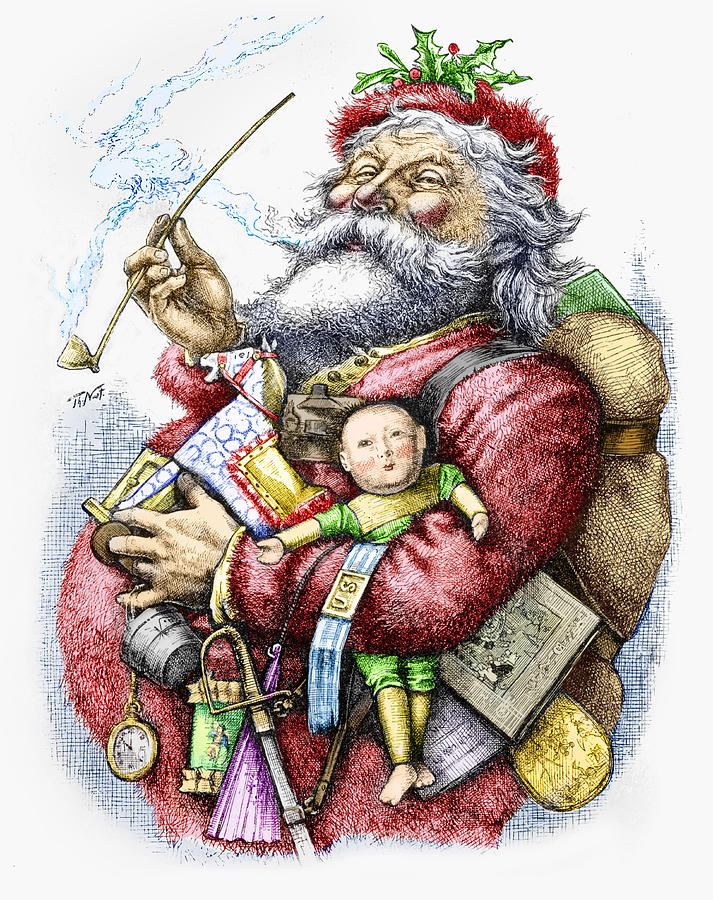Merry Old Santa Claus Painting By Thomas Nast