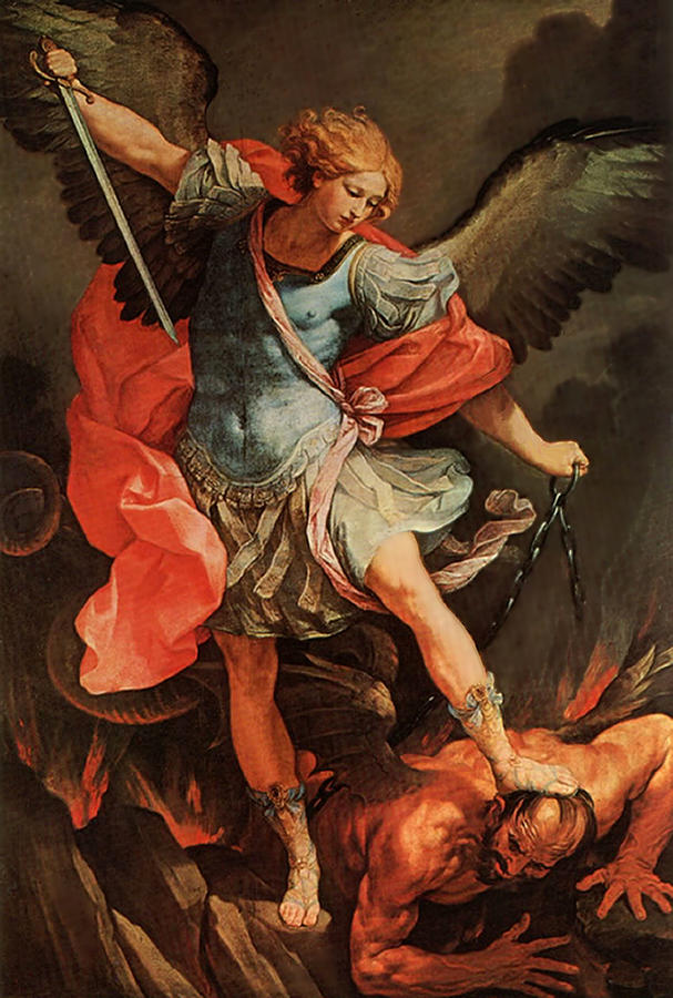 Michael Defeats Satan by Troy Caperton