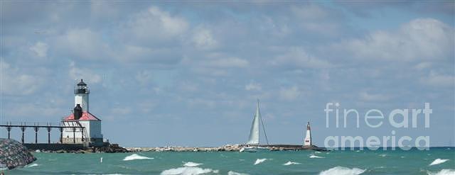 Scenery Photograph - Michigan City Beach Lighthouse by Barb Montanye Meseroll