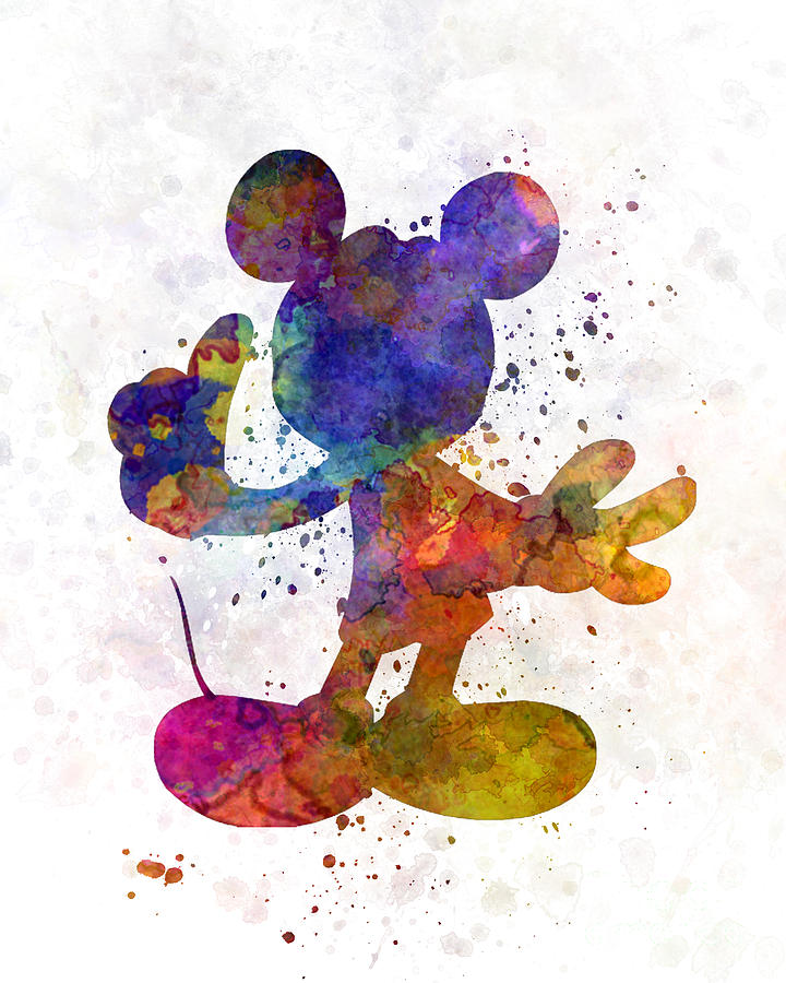 Mickey Mouse In Watercolor Painting by Pablo Romero