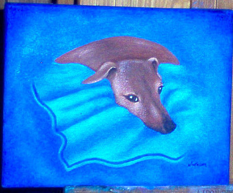 Pet Portrait Painting - Mickey by Nancy Waller
